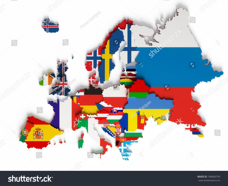 European Map National Borders Countries Flags Illustration – Eropian Map