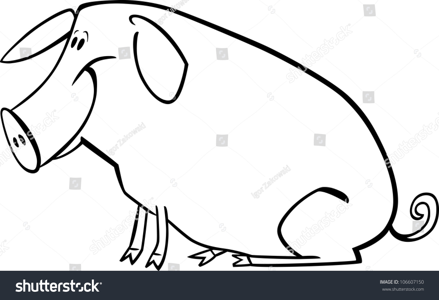 Coloring Page Illustration Funny Farm Pig Stock Illustration ...