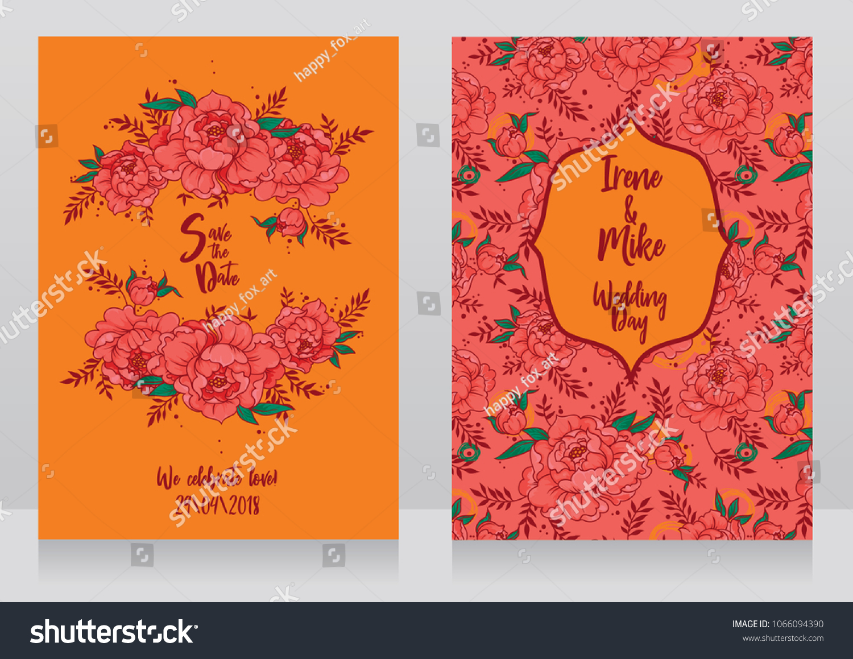 Wedding Cards Peonies Frame Pattern Hippie Stock Vector (2018 ...