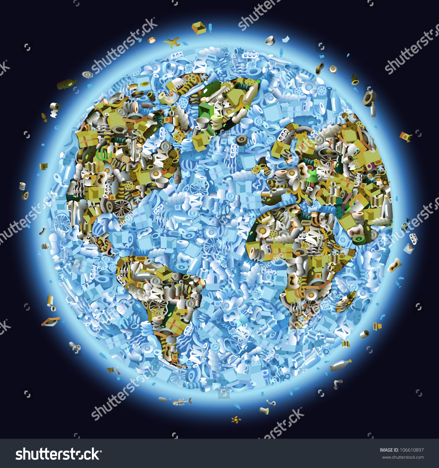 Vector Planet Earth Piled Garbage Concept Stock Vector ...