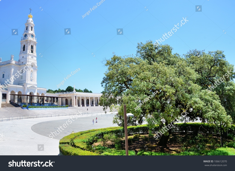 View over shrine basilica olive tree stock photo 106612070 view over the shrine with the basilica and an olive tree symbol of fatima buycottarizona Choice Image