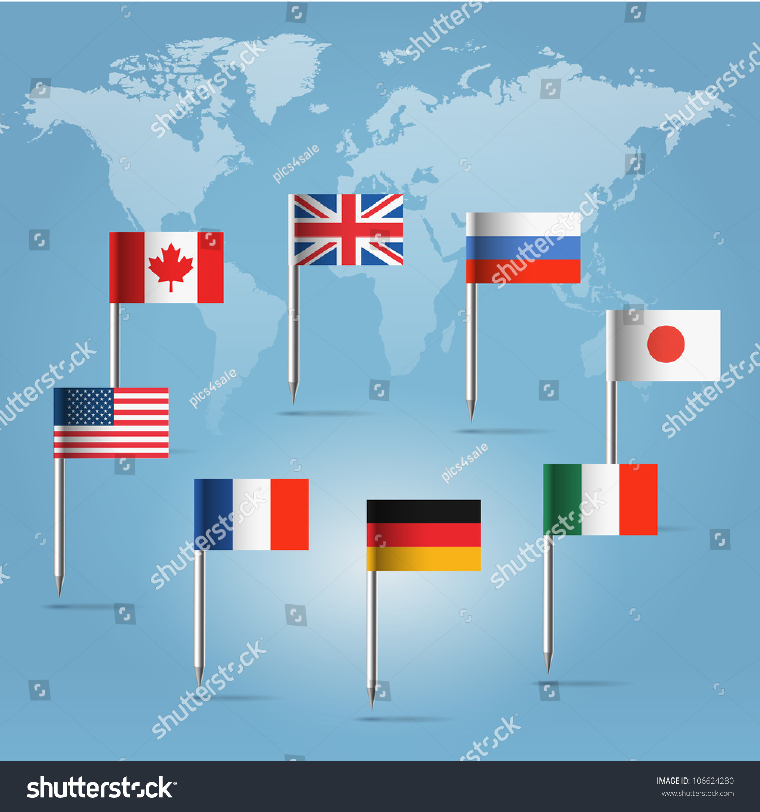 Glossy beautiful pin flags canada germany vectores en stock glossy beautiful pin flags of canada germany russia uk italy france gumiabroncs Gallery