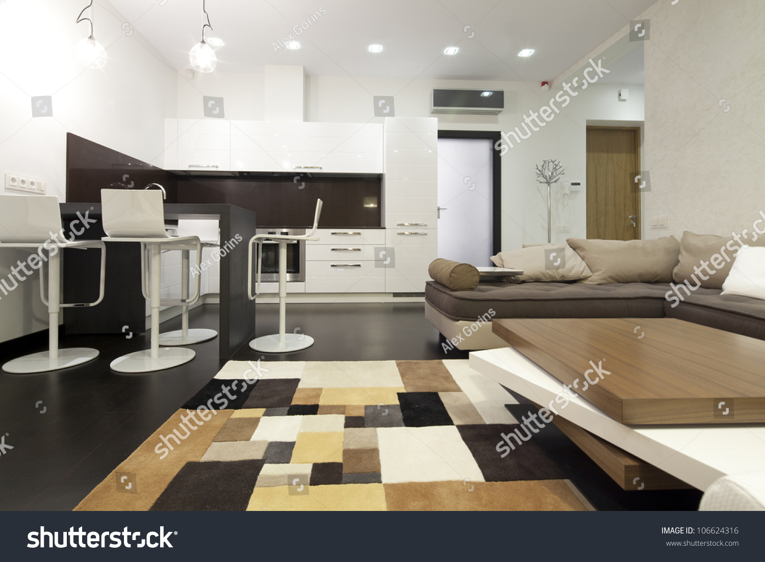 Interior Designer Living Room With Kitchen Stock Photo 106624316