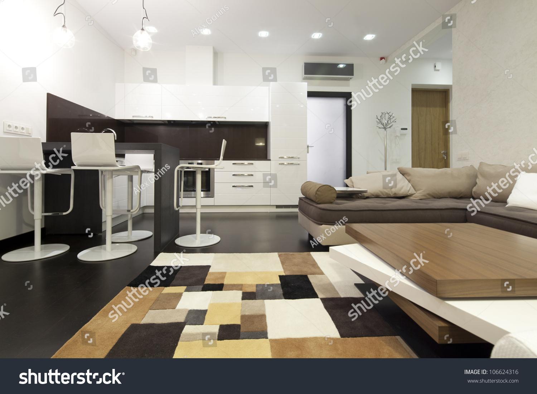 Interior designer living room kitchen stock photo for Design interior living apartament