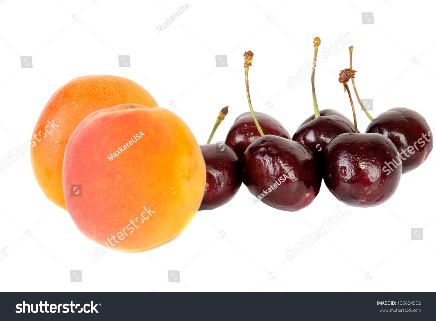 Black fresh cherries and apricots on white background, apricots ...