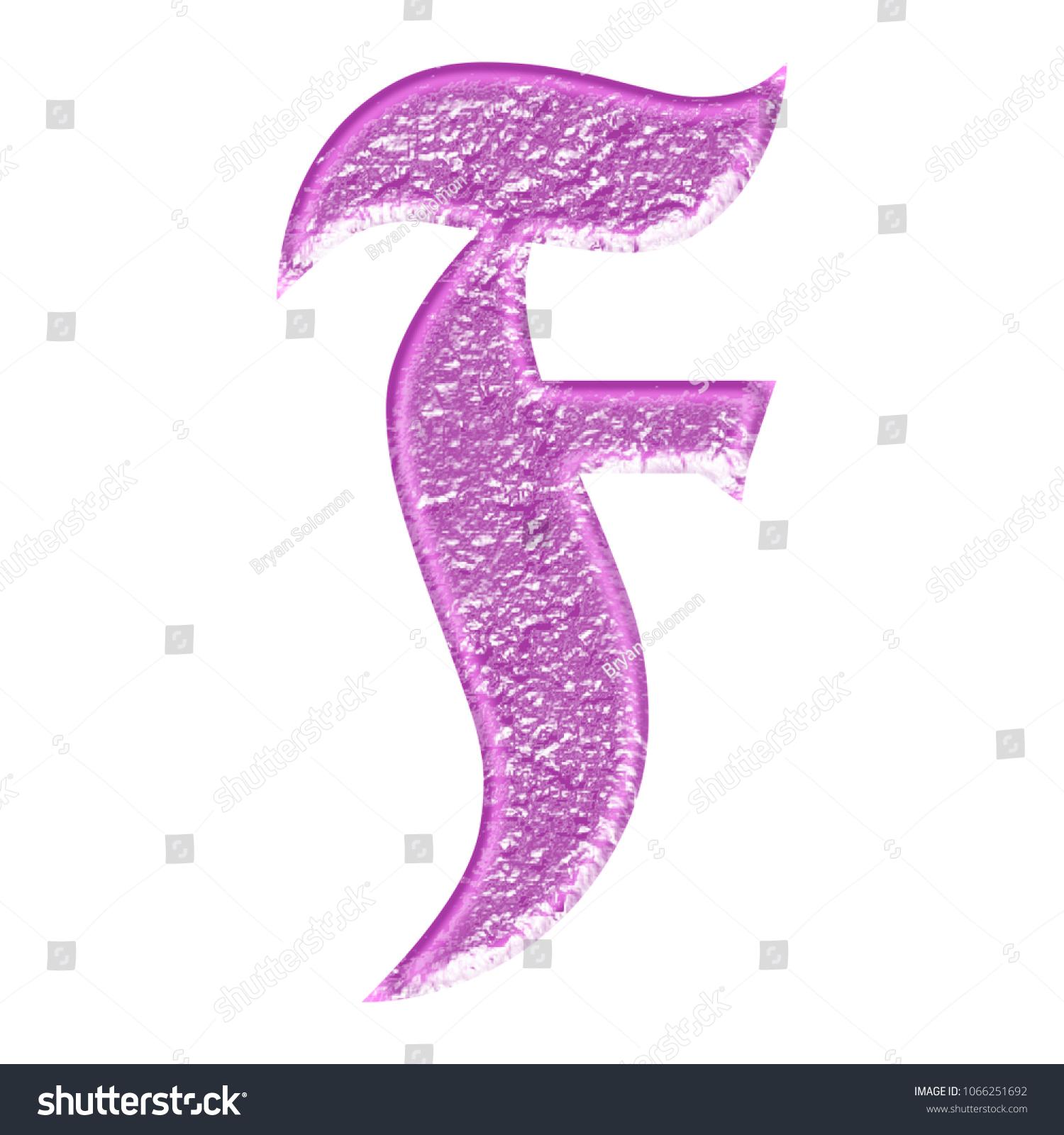 Worn Pink Metal Style Letter F Stock Illustration 1066251692 ...