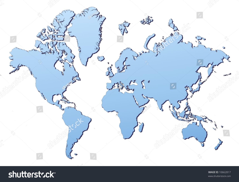World Map Filled Light Blue Gradient Stock Illustration - High resolution world map