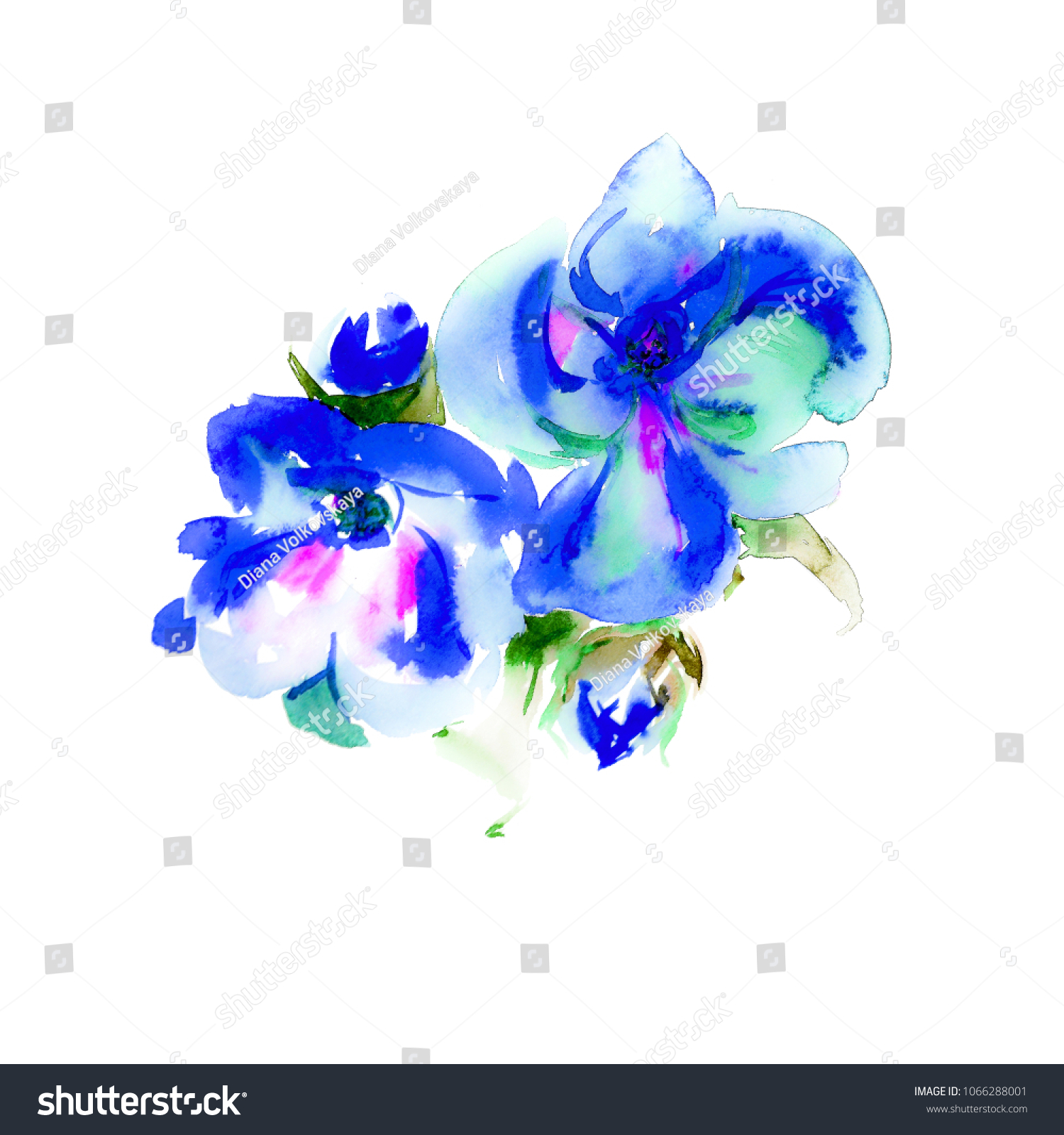 Watercolor Blue Tropical Flowers Buds Bouquet Stock Illustration