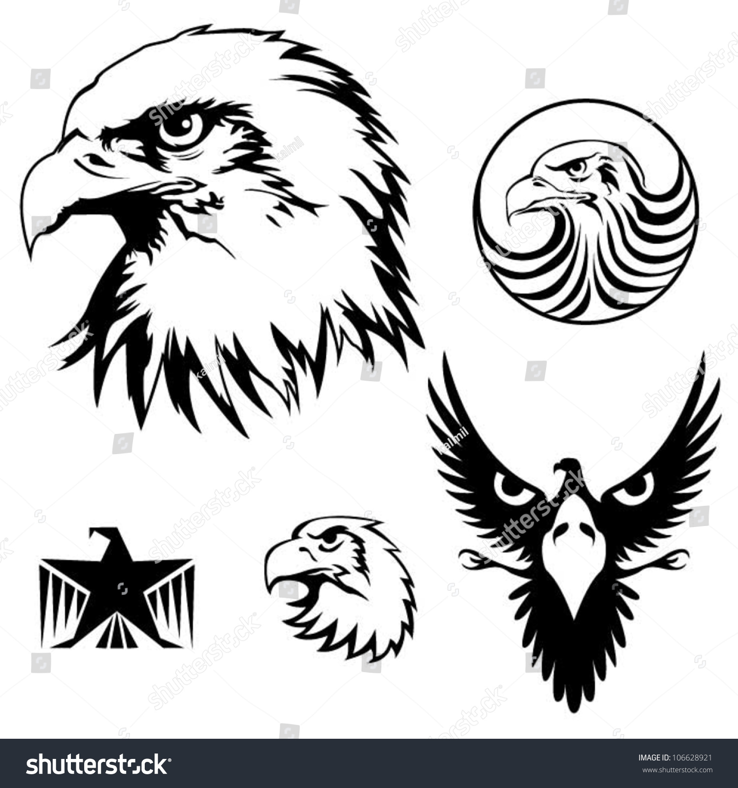 Eagle face front vector
