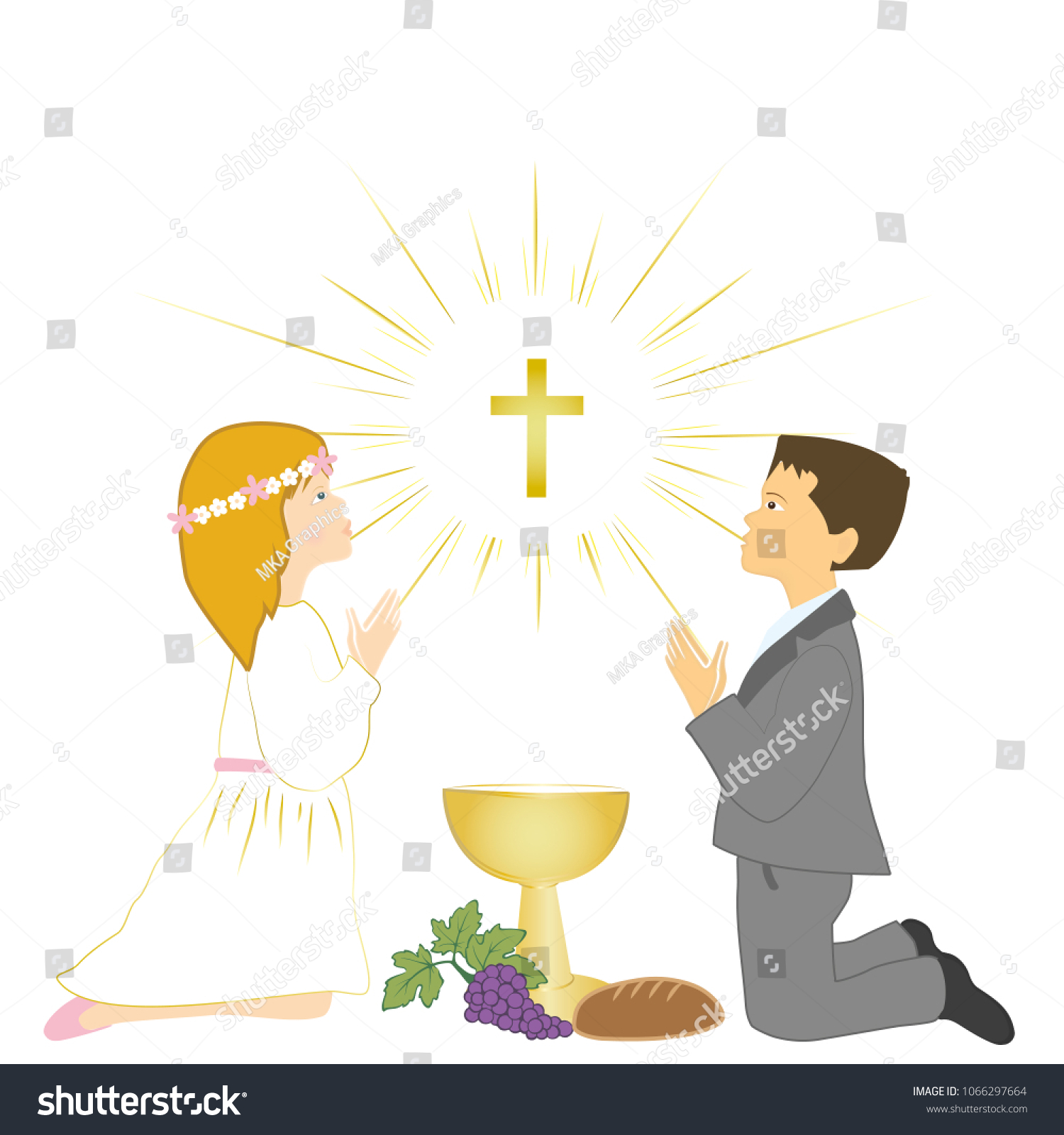 First Holy Communion Ceremony Symbols Children Stock Vector Royalty