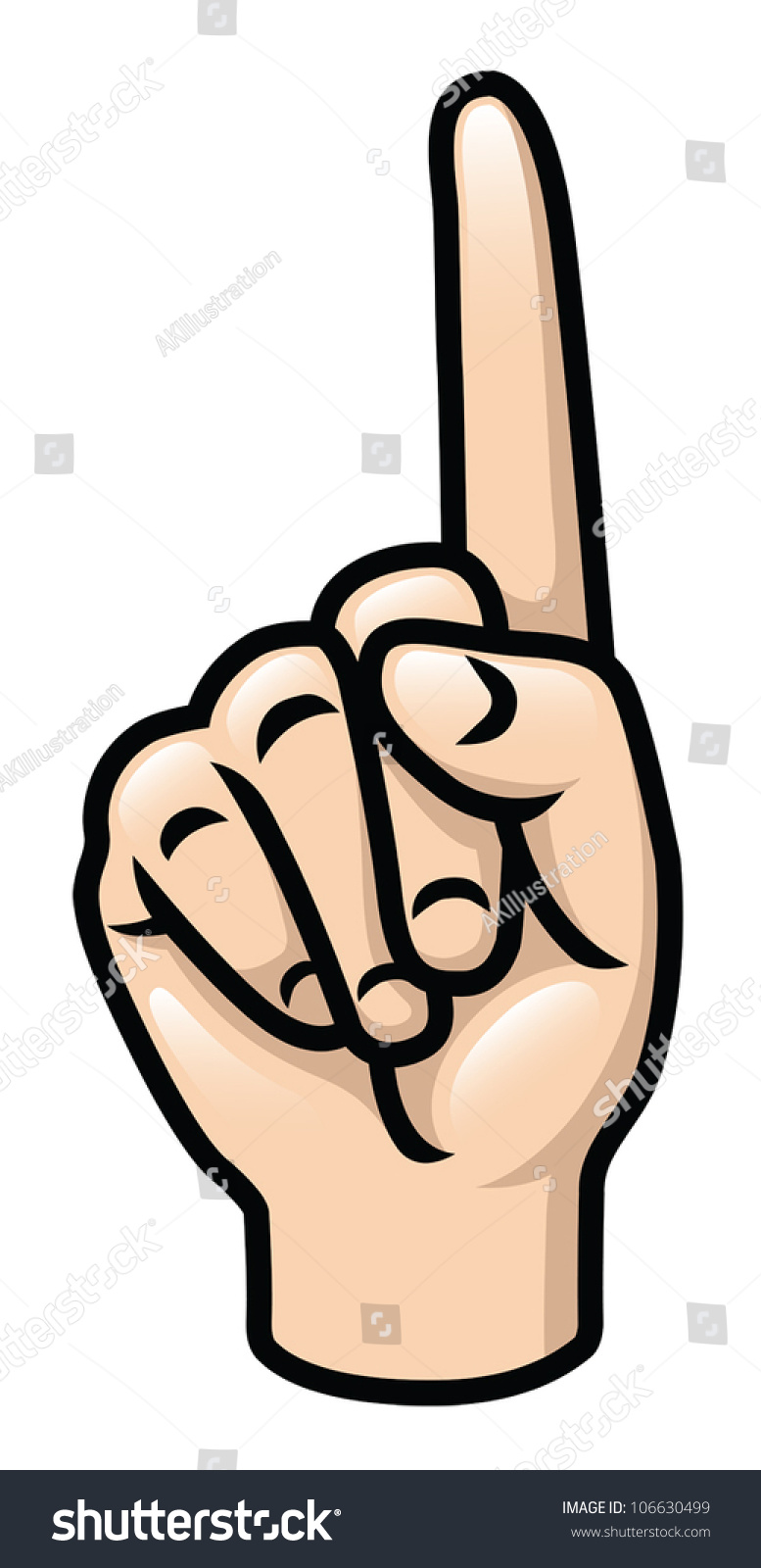 Illustration Of A Cartoon Hand Holding Up One Finger. Eps