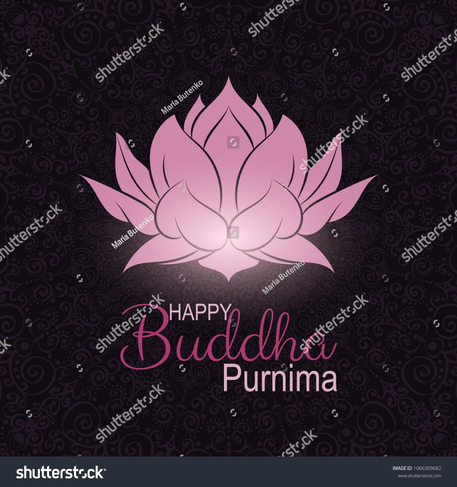 Banner Vesak Day Pink Lotus Flower Stock Vector Royalty Free