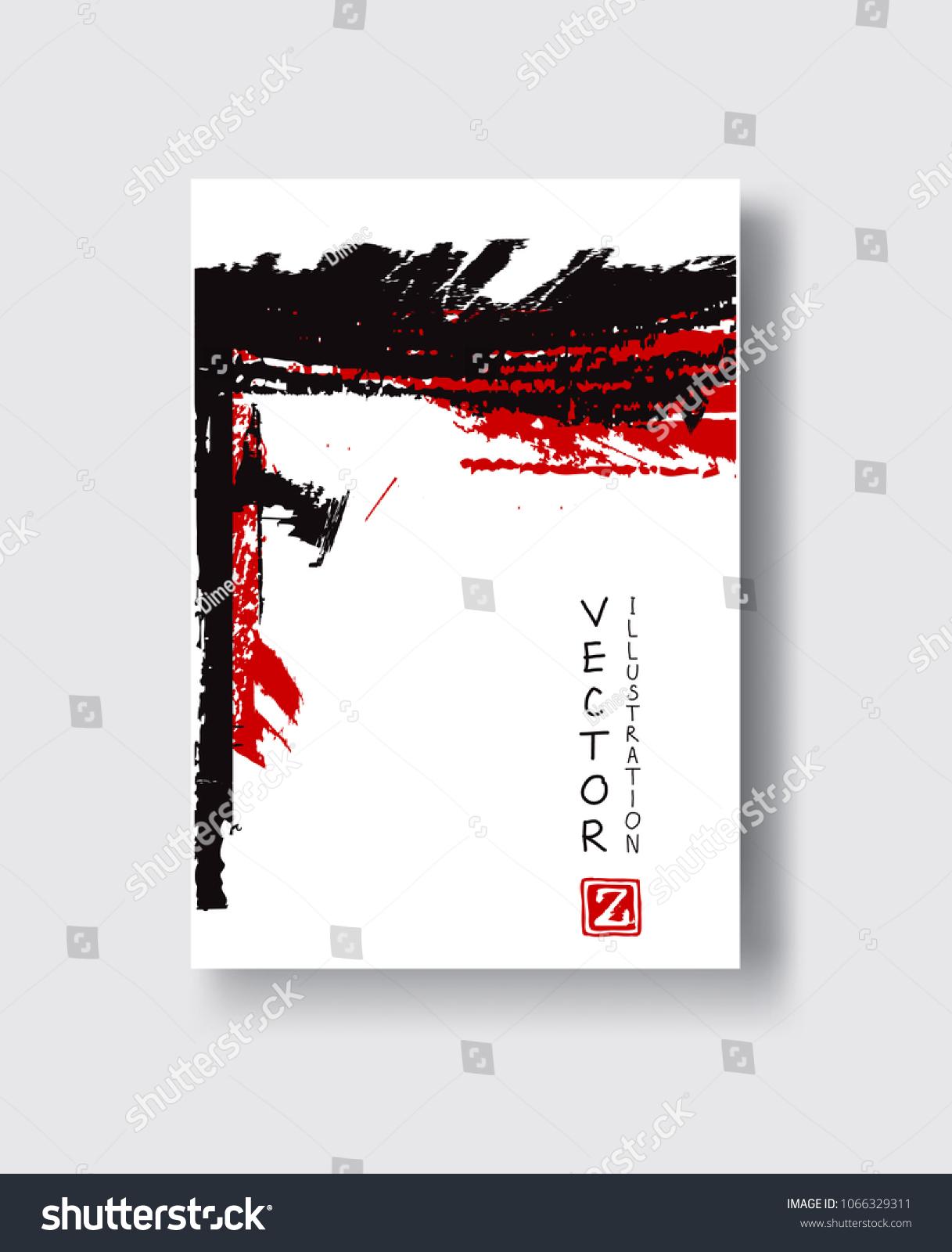 Elegant Brochure Template Design Ink Brush Stock Vector Royalty