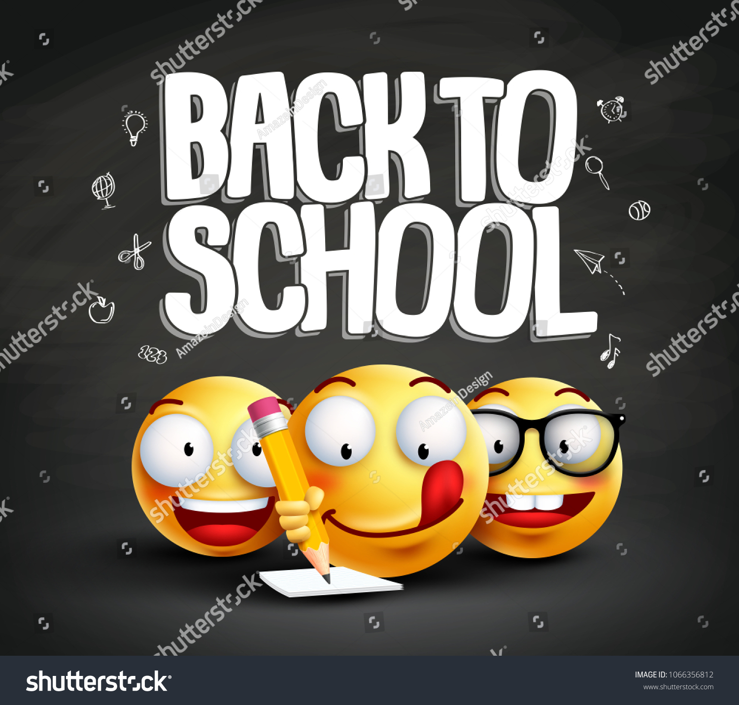 Smiley Face Emoticons Back School Text Stock Vector Royalty Free
