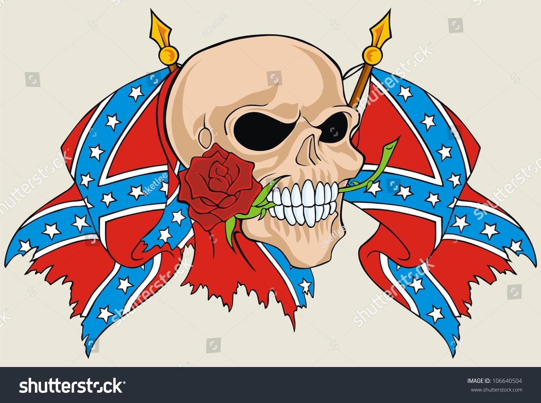 Flower Skull Rebel Flag Stock Vector 106640504 - Shutterstock