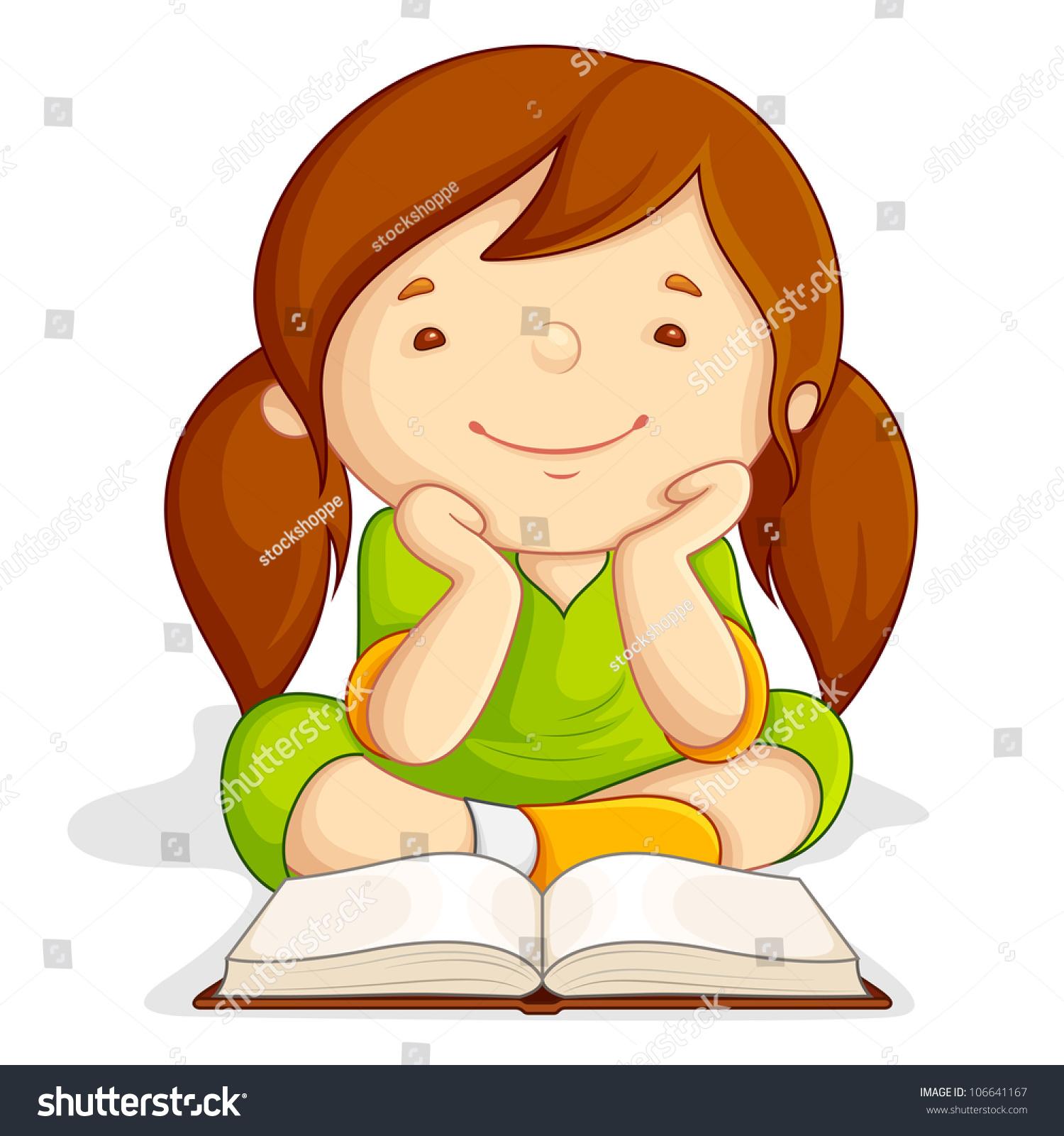 Vector Illustration Of Girl Reading Open Book Sitting On ...
