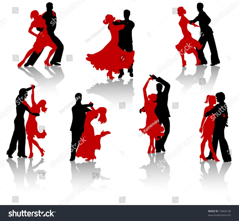 Stock Vector Silhouettes Of The Pairs Dancing Ballroom Dances Tango Latin Dances Waltz Foxtrot on Ballroom Waltz Dance Steps