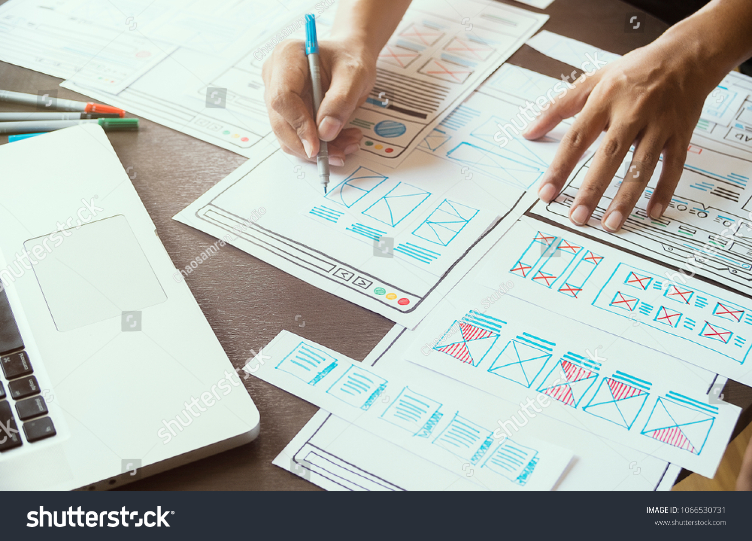 Website designer design development sketch drawing wireframe internet planning creativity editor ideas layout template content