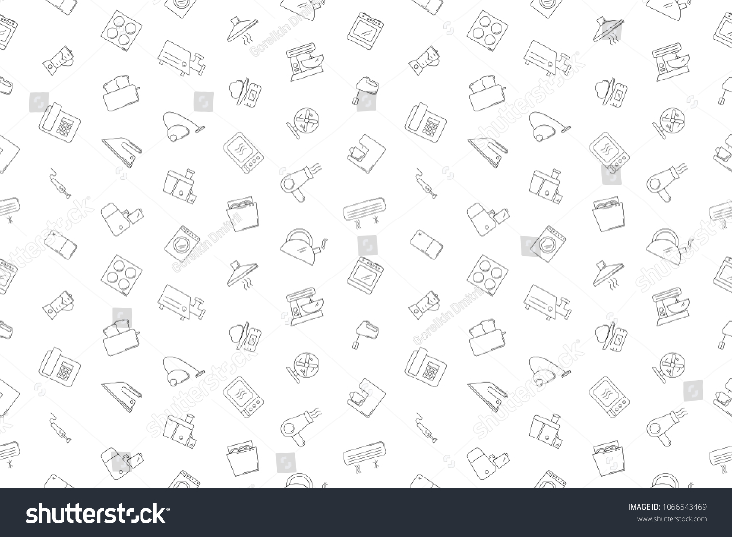 Vector appliances pattern. Appliances seamless background