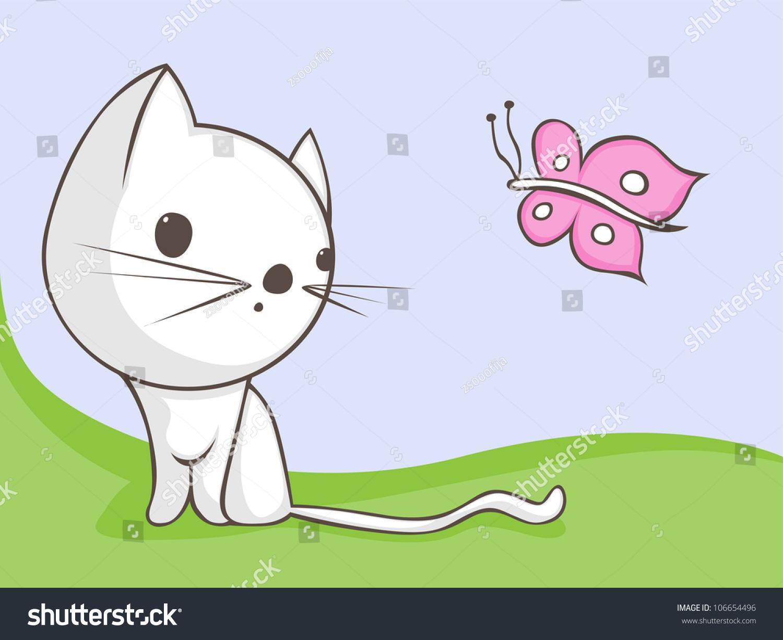 котенок ловит бабочку рисунок