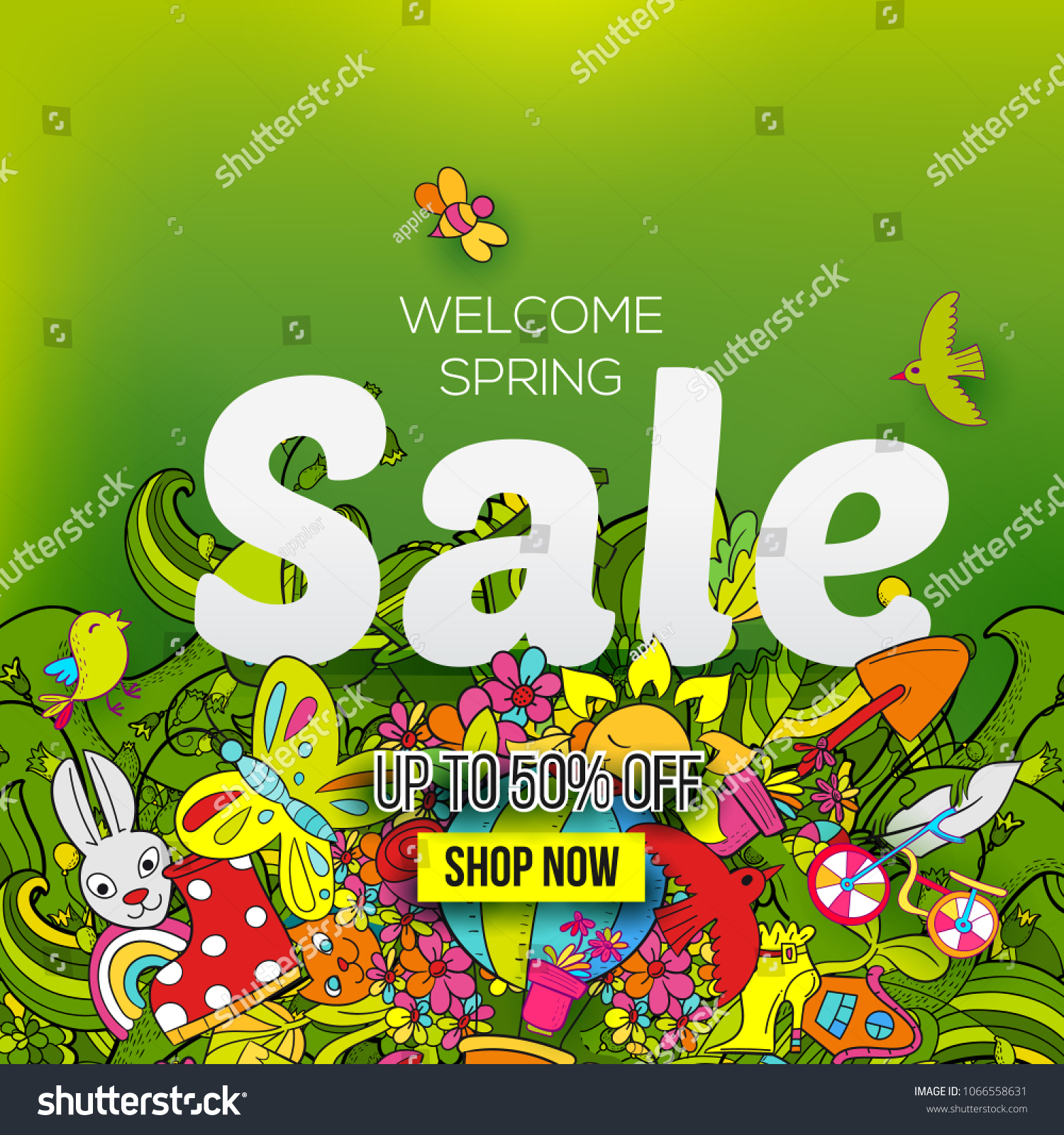 Welcome Spring Sale Banner Template Hand Stock Vector Royalty Free