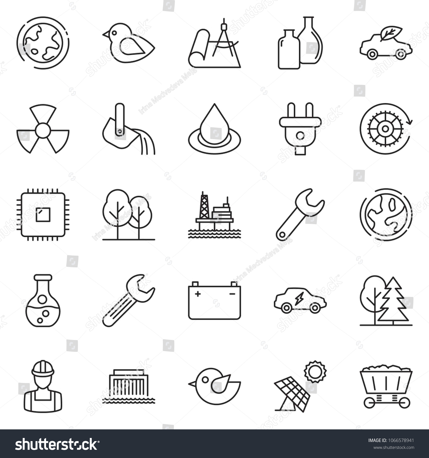 Thin Line Icon Set Offshore Oil Stock Vector Royalty Free Circuit Panel Id Chart Kit Quickly And Platform Sun Flask Earth