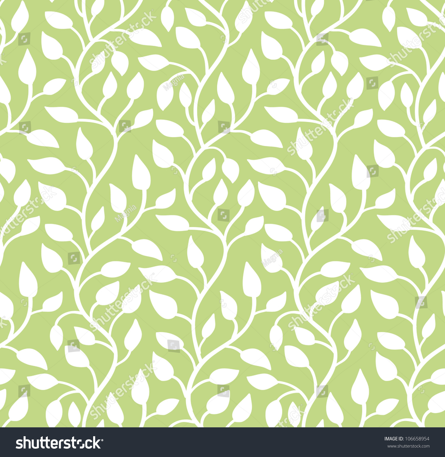 seamless green leaf pattern vector illustration stock