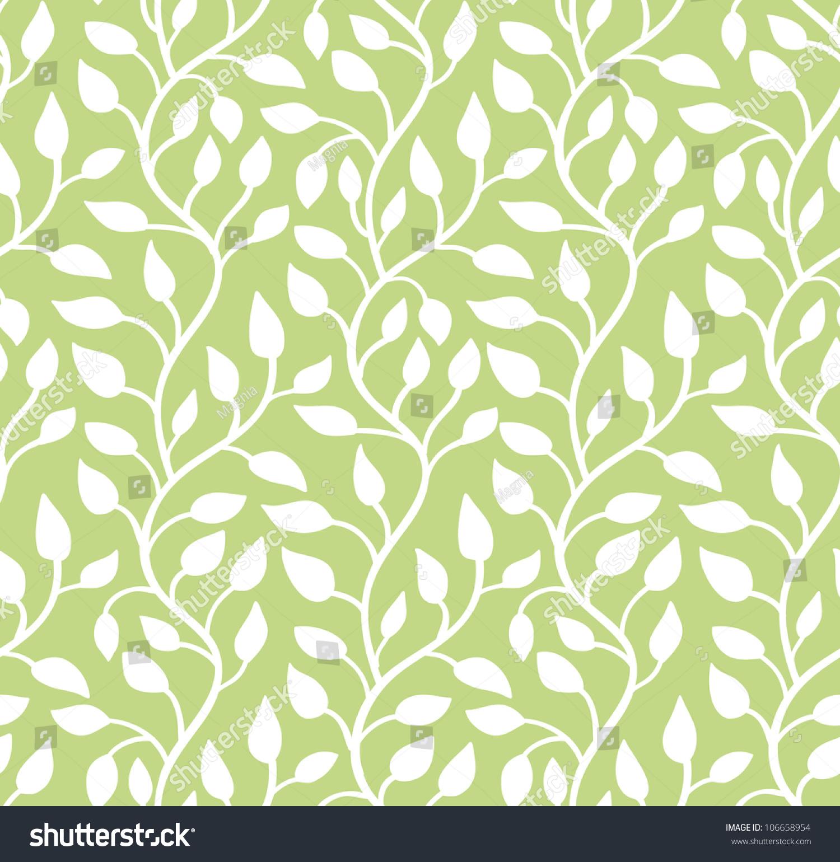 seamless green leaf pattern vector illustration stock