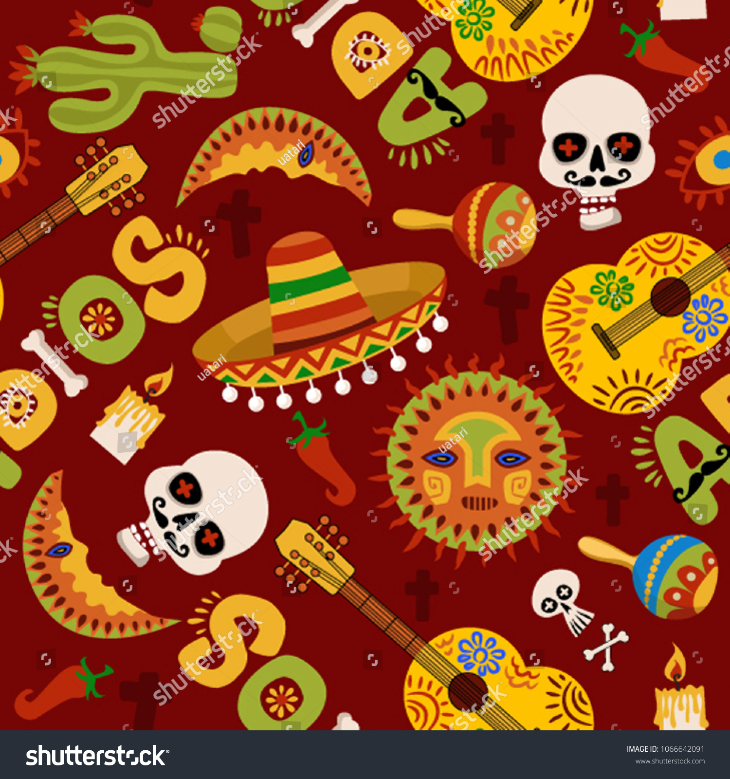 Dia de los muertos is day of the dead in Spanish. Mexican party wallpaper. Pattern with symbols of Mexico. Mexican seamless pattern.