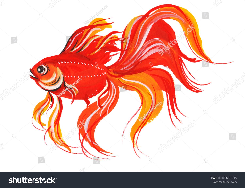 Goldfish Design Bright Red Element Aquarium Stock Illustration ...