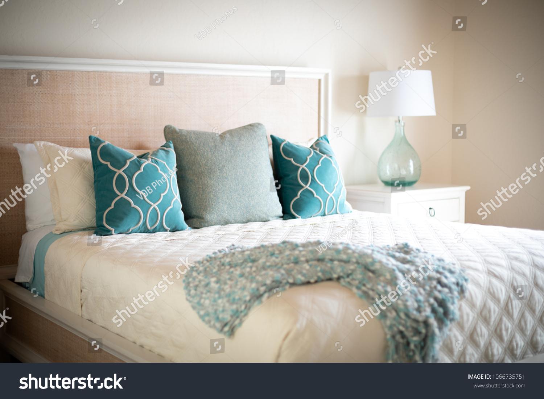 Blue Green Decorative Throw Pillows On Stock Photo (Edit Now