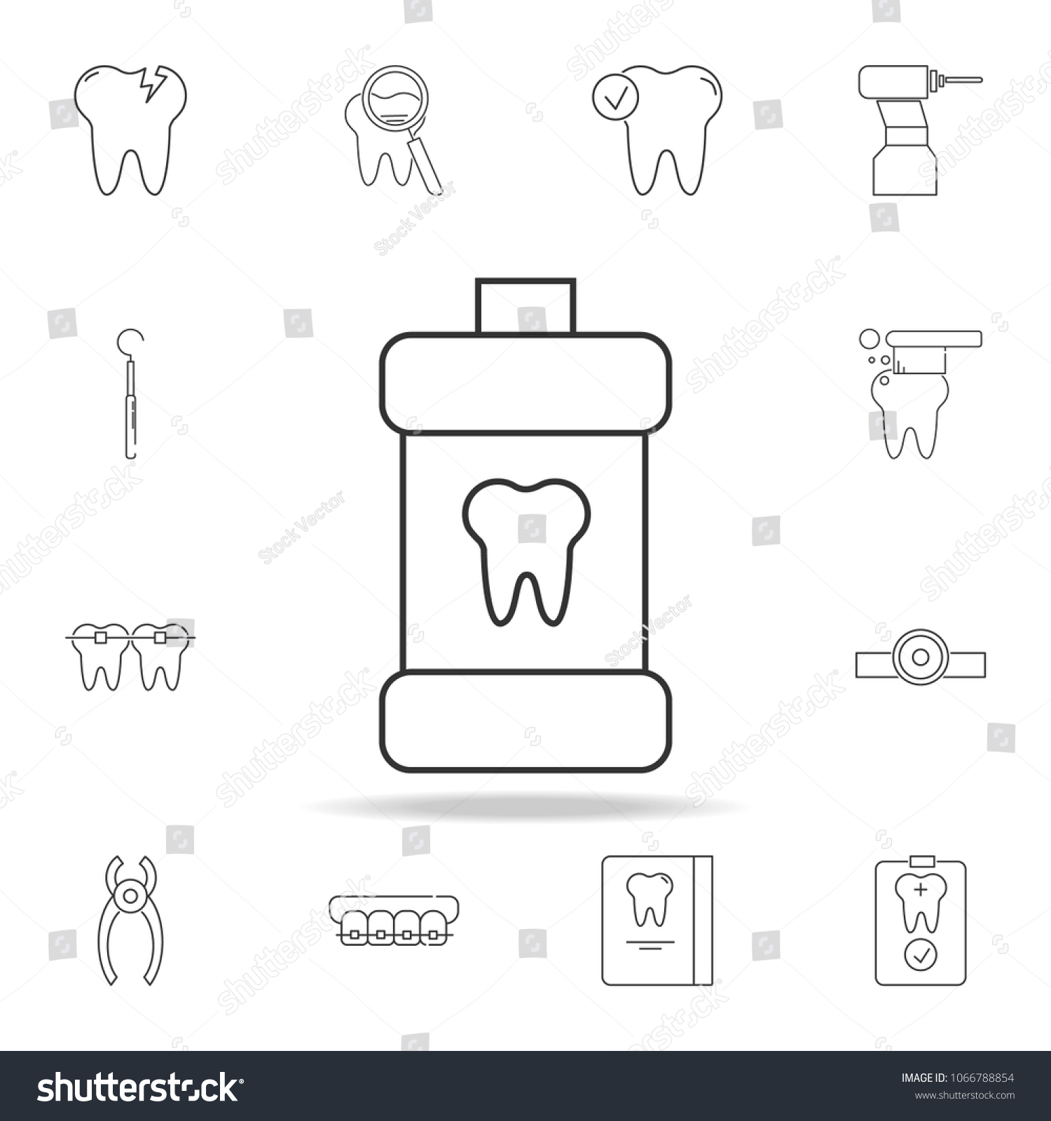 simple mouth rinse icon  detailed set of dental outline line icons  premium  quality graphic