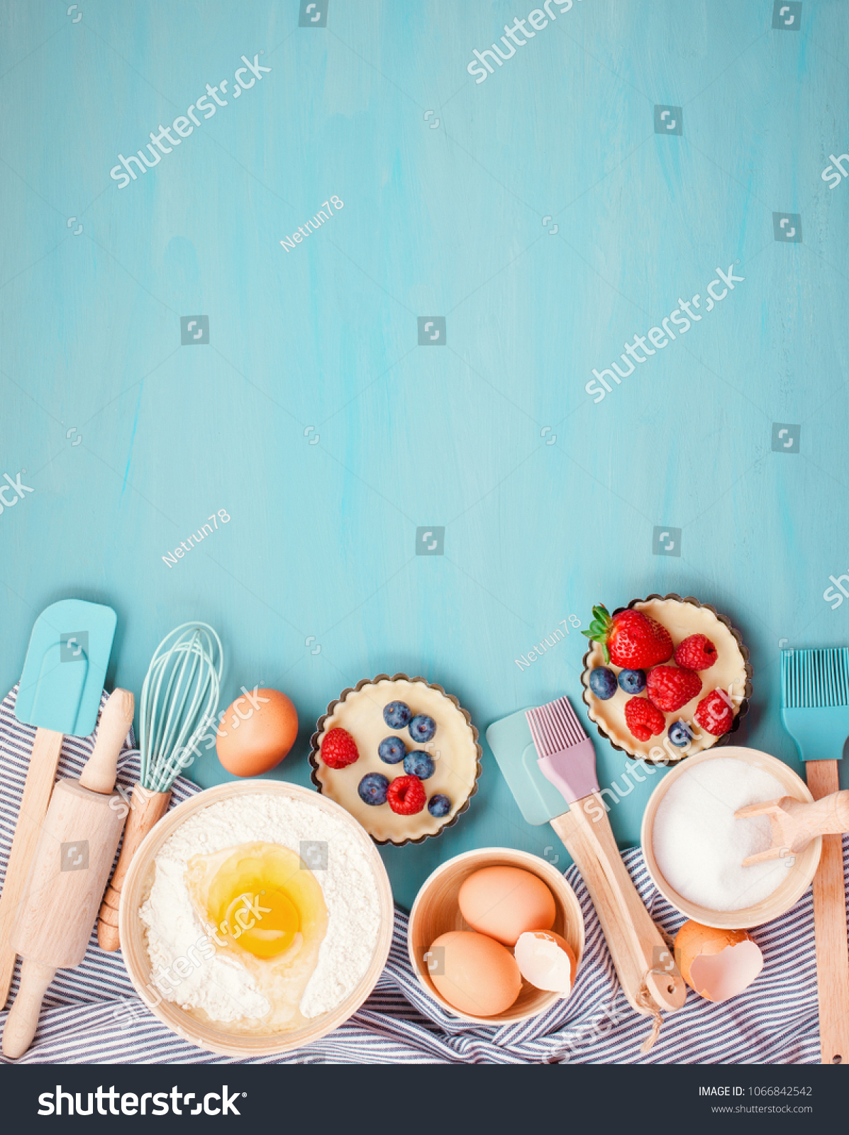 Baking Utensils Cooking Ingredients Tarts Cookies Stock Photo (Edit ...
