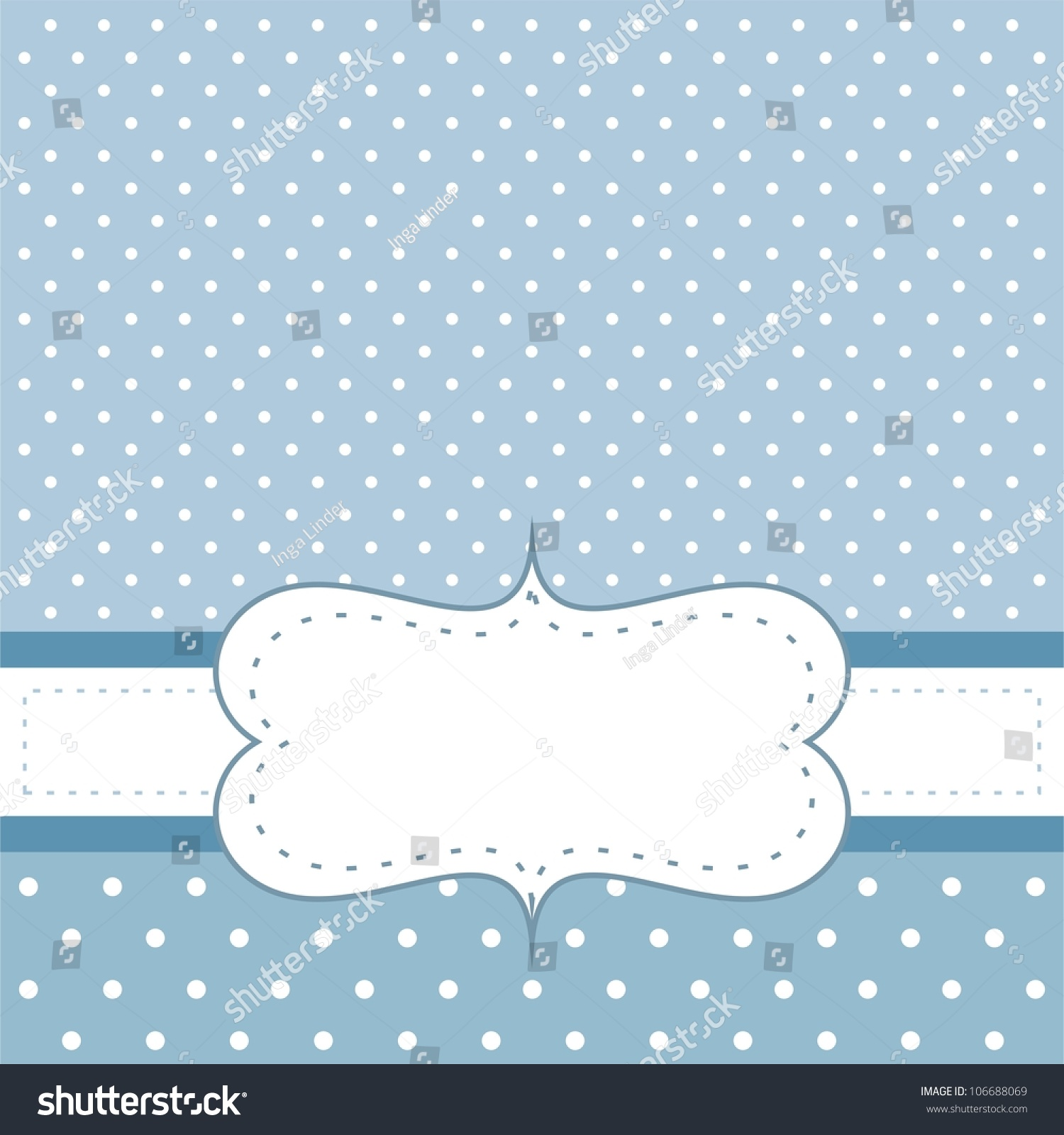sweet blue dots card invitation white stock vector
