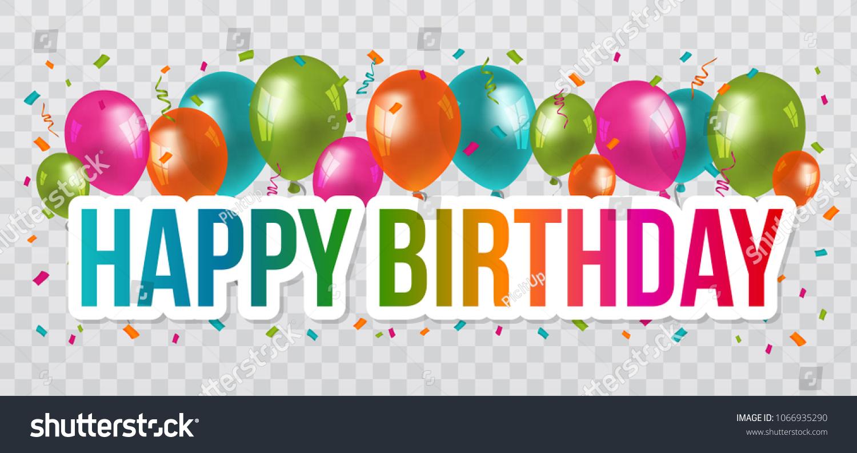 Happy Birthday Greetings Lettering Design Balloons Stock Vector