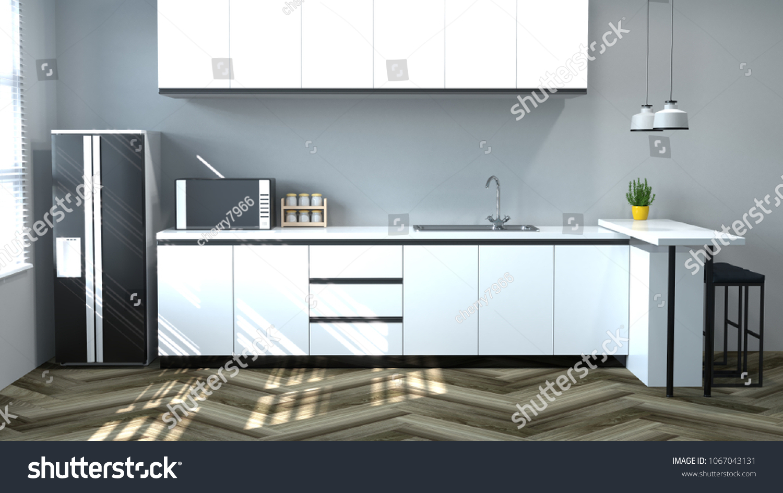 Kitchen Interior Cooking White Tablechairlampmodern Food Stock ...