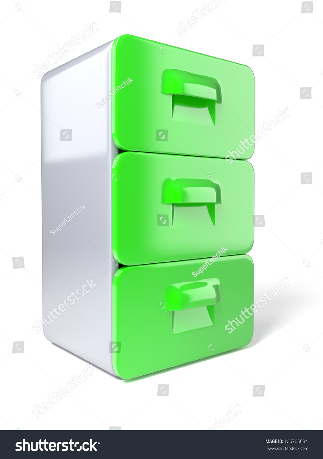 Modern Filing Cabinet 3d Modern File Cabinet On White Background Stock Photo 106705034