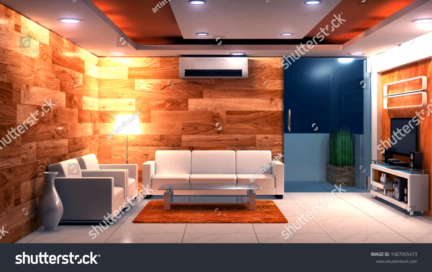 Picture Apartments Living Room Night Time Stock Illustration