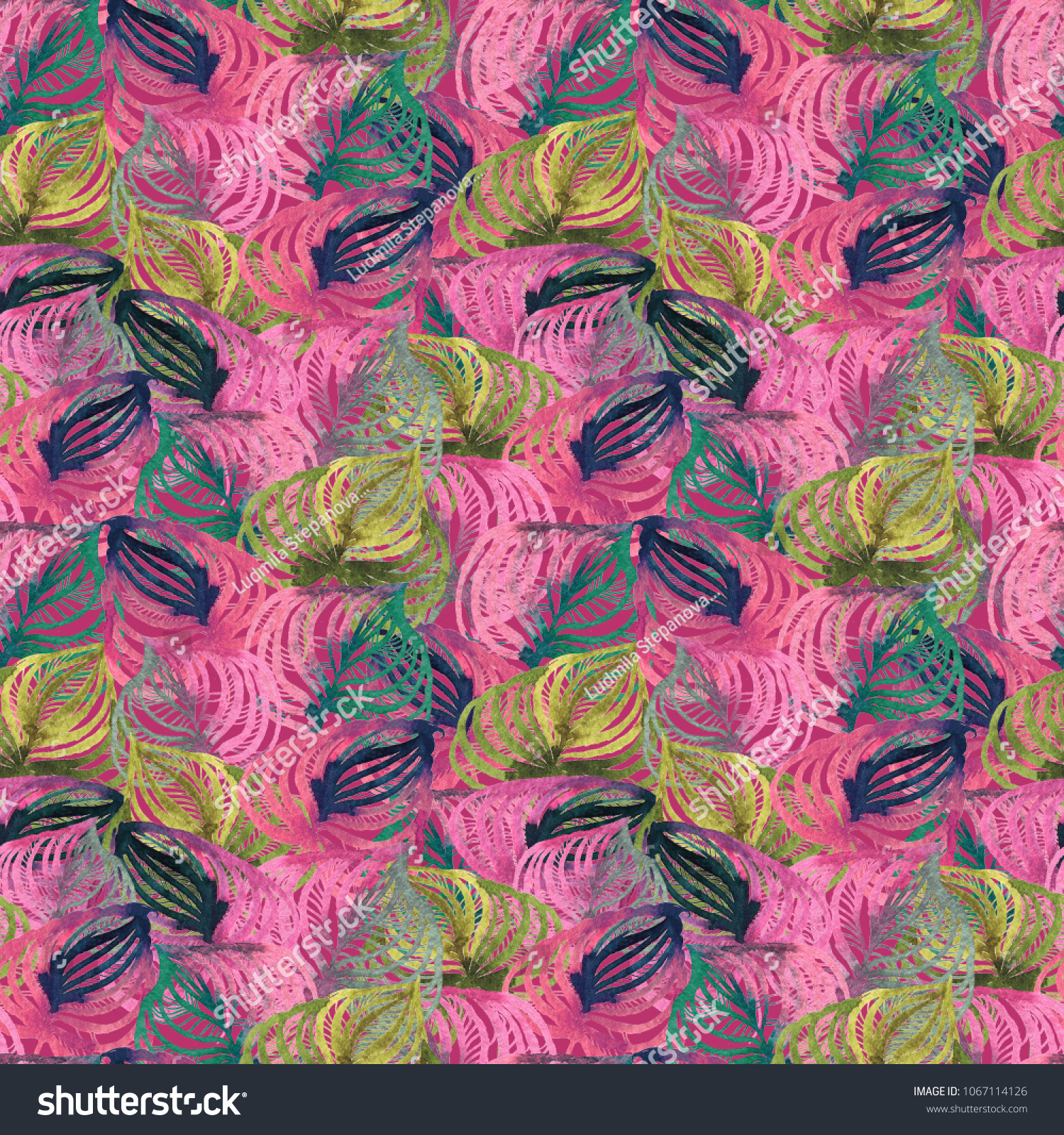 Watercolor Seamless Floral Pattern High Resolution Stock