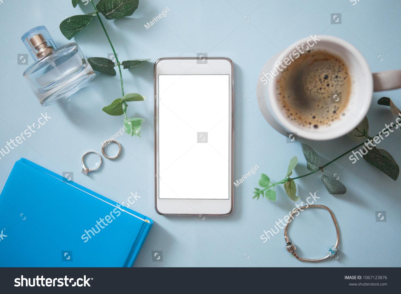 Smartphone Empty Screen Eucalyptus Coffee Cup Stock Photo Royalty Parfum Kopi Parfume Mobil With Rings Perfume On Light