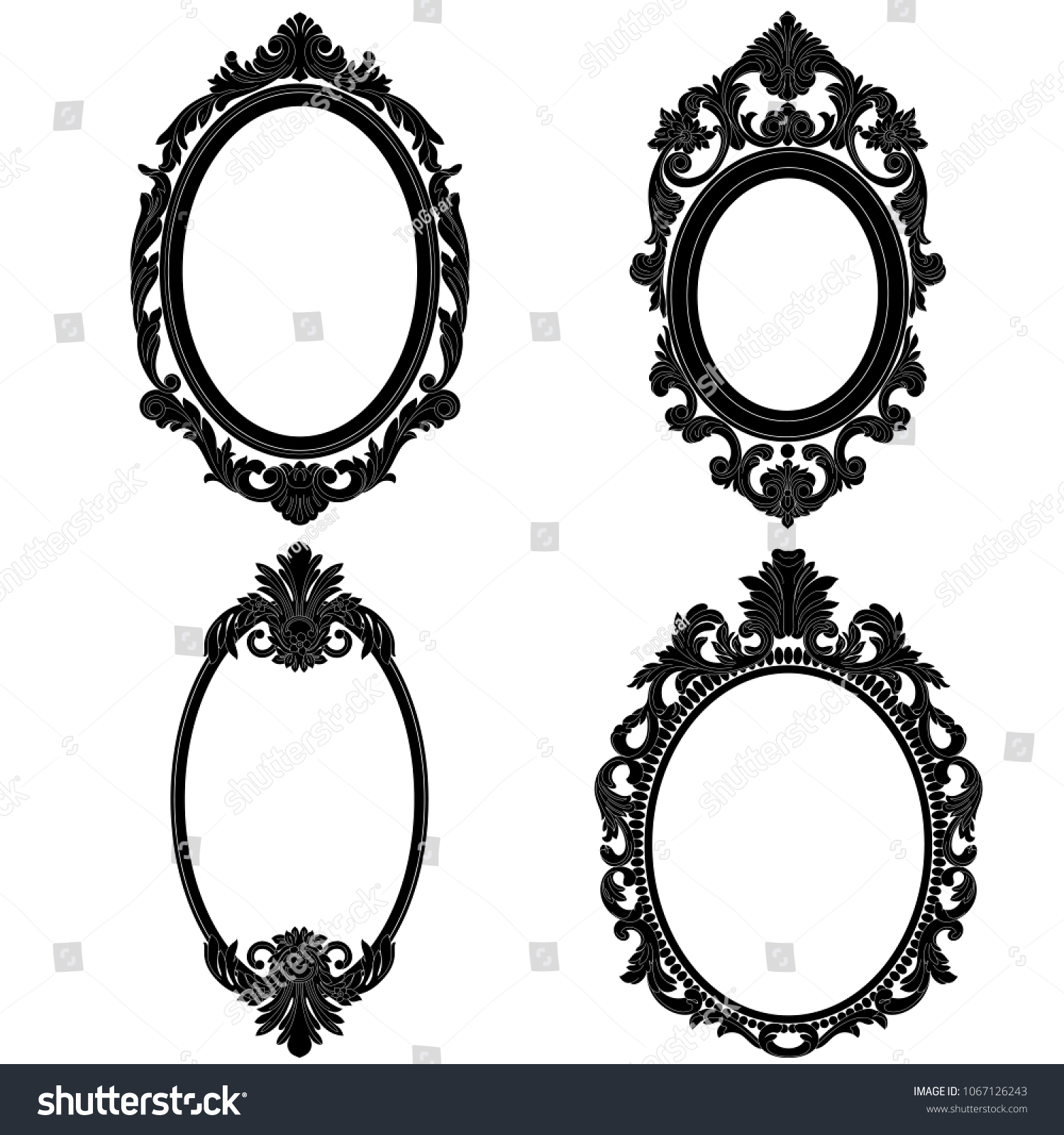 Antique Oval Picture Frames. Stock Photo - Vintage Silver Oval Frame ...