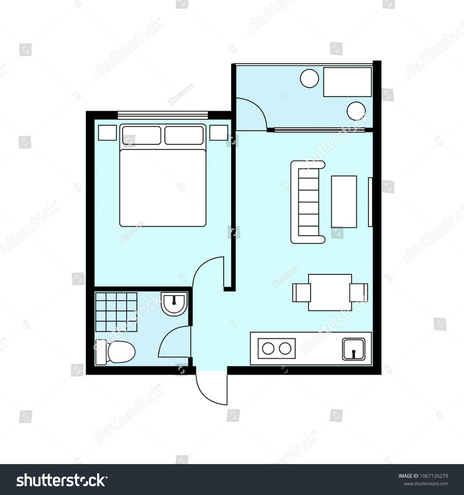Floor Plan Architectural Vector Illustration 1 Stock Vector Royalty Free 1067126279