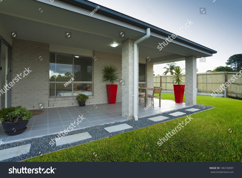 modern backyard entertaining area stylish australian stock photo