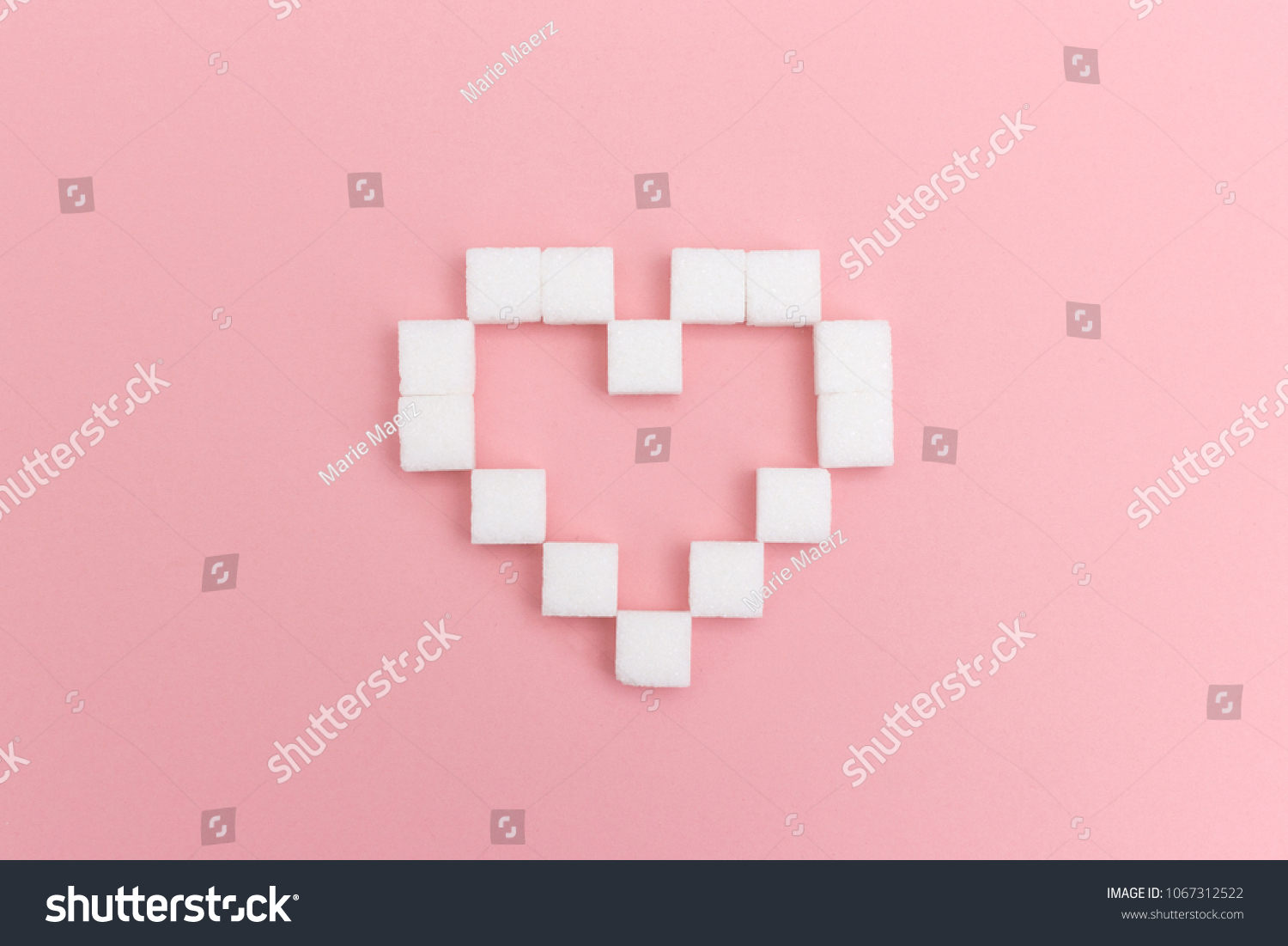 Pixel Heart Symbol Made White Sugar Stock Photo Edit Now