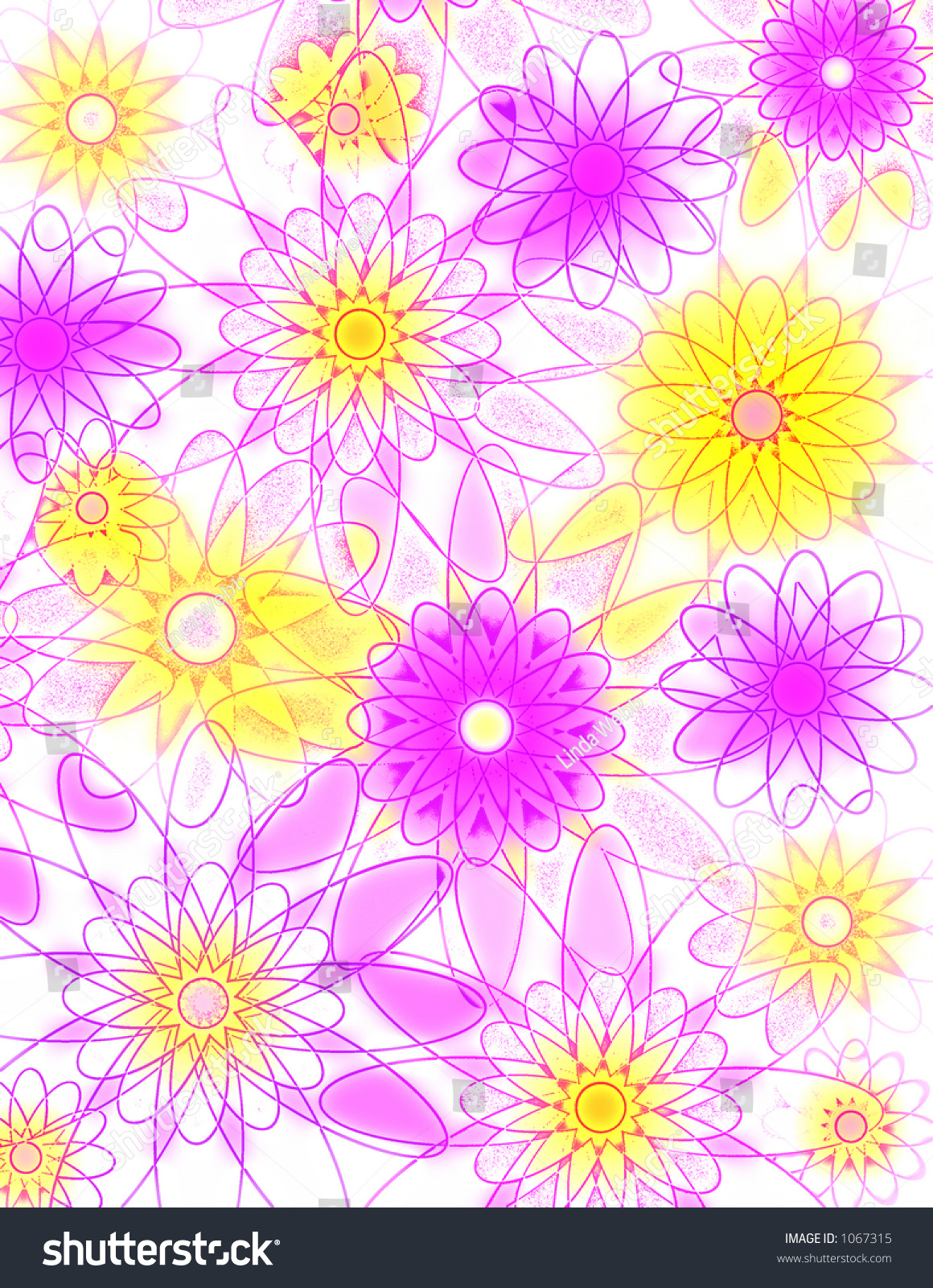 Pink Yellow Flowers Background Stock Photo Edit Now 1067315