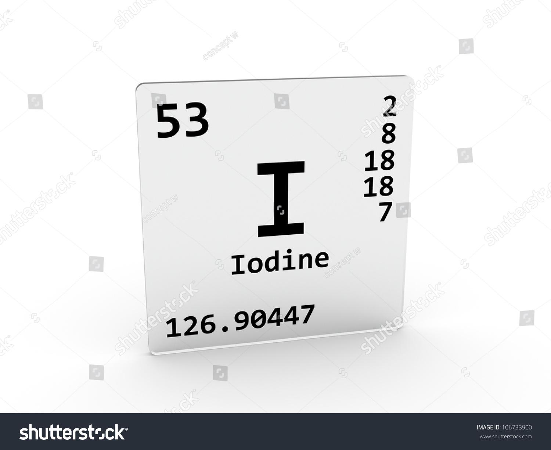 Iodine Symbol Element Periodic Table Stock Illustration 106733900