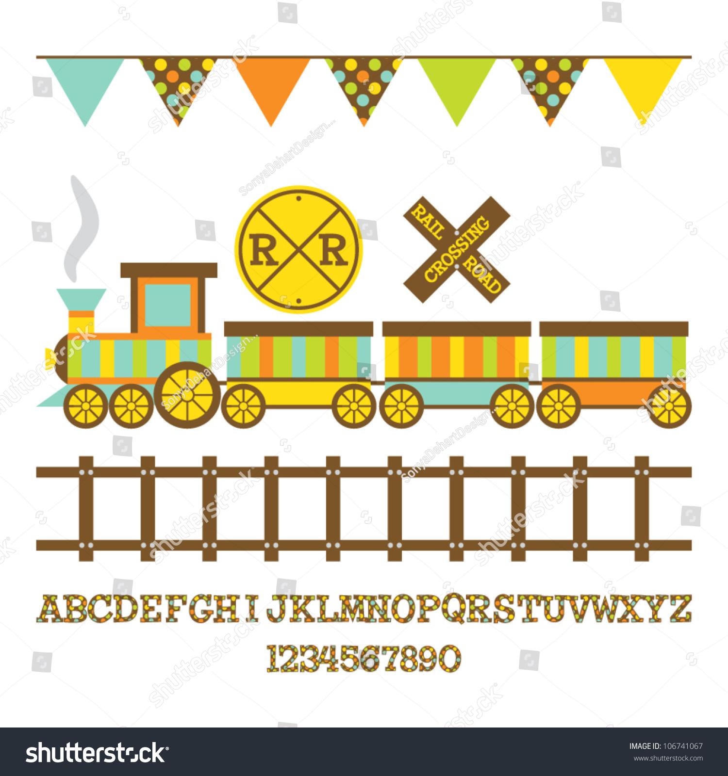 Blue Train Cartoon Stock Vector Cartoon Train Set Vector