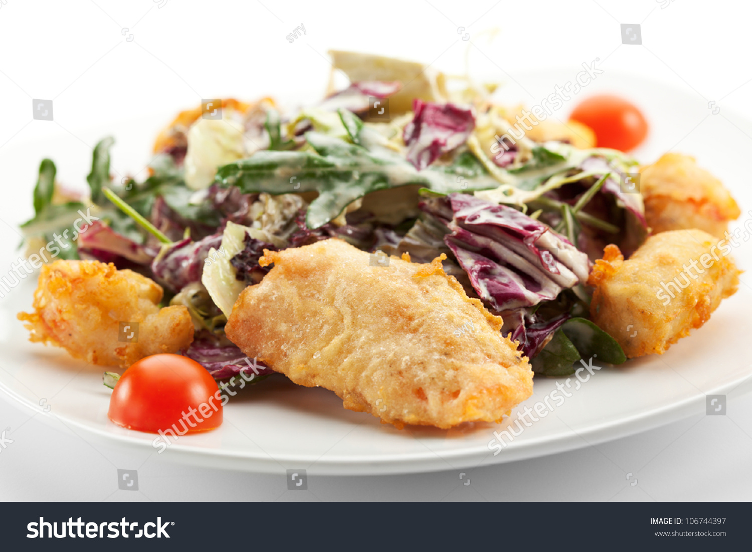 Caesar Salad - Japanese Style. Deep Fried Chicken Fillet (or seafood ...