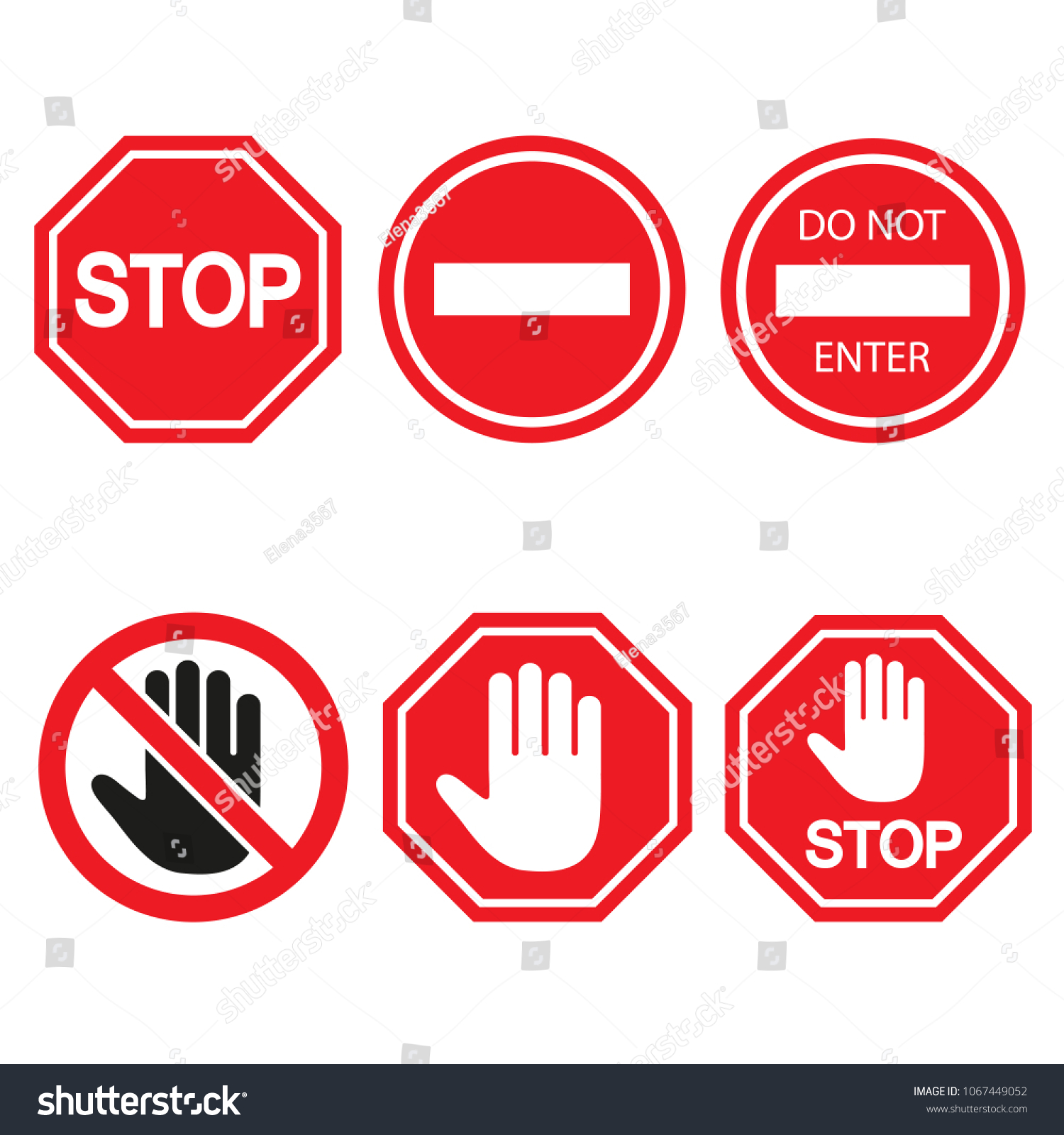 Stop Sign Set Isolated On White Stock Illustration 1067449052
