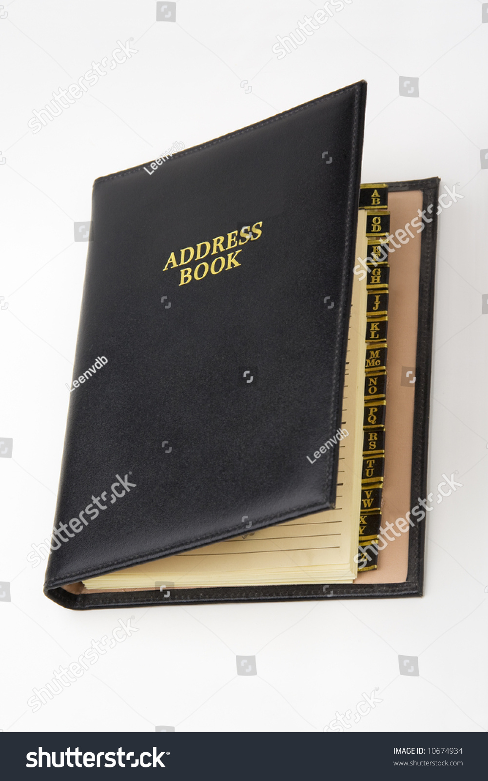 Black Leather Address Book, Alphabetical Tabs Visible